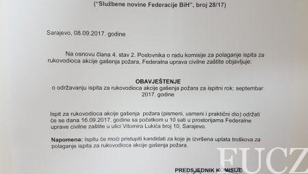 OBAVJEŠTENJE o održavanju ispita za rukovodioca akcije gašenja požara za ispitni rok: septembar 2017. godine